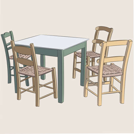 Wooden table and four chairs. 矢量图像