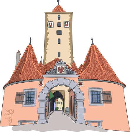 Rothenburg ob der Tauber. Old city gate Burtorg.