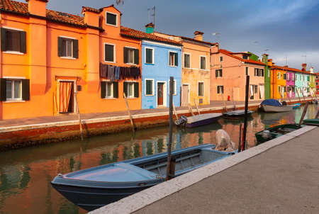 Facades of traditional old houses on the island of Burano.