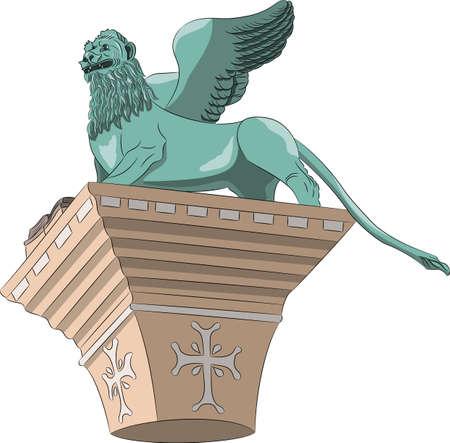 The Venetian lion of St. Mark. Illustration