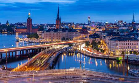 Stockholm. City embankment at sunset.