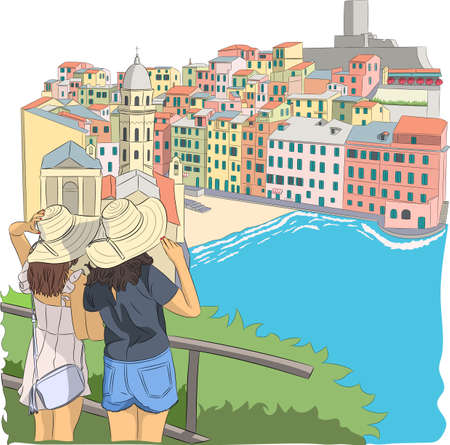 Two girls tourists look at the village Vernazza. Illustration