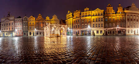 Poznan. Old town square at night.