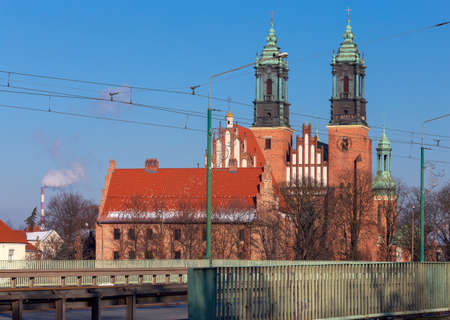 Poznan. Cathedral on Tumskiy Island on a sunny day.