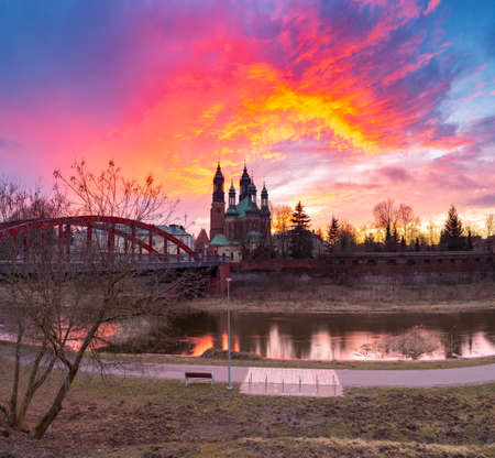 Poznan. Cathedral on Tumskiy Island at sunset.