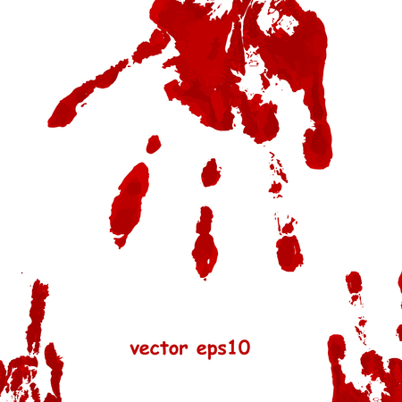 hand prints: Bloody hand print - Vector background