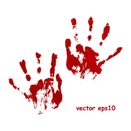 血まみれの手の印刷 - のベクトルの背景