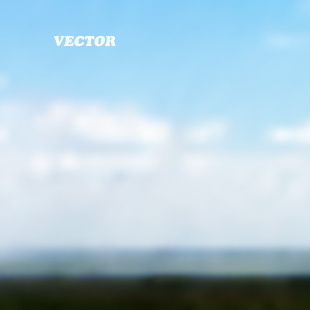 lea: Meadow under blue sky with clouds - Vector background Illustration