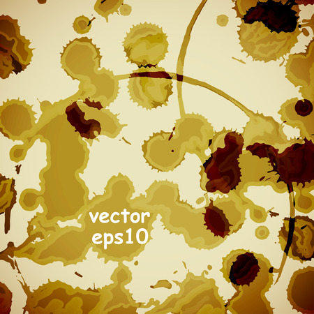 yellowing: Coffee stains on the white background - Vector illustration. Illustration