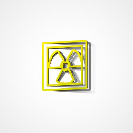 caution chemistry: Radiation warning web icon on white background