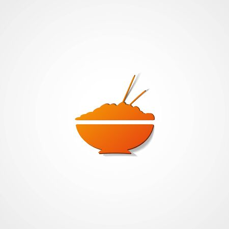 rice plate: Rice in plate web icon on white background Illustration