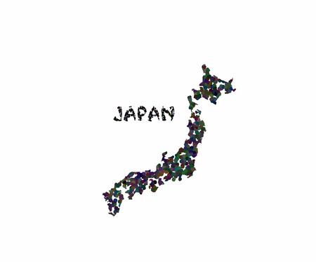 Concept map of Japan, vector design Illustration.