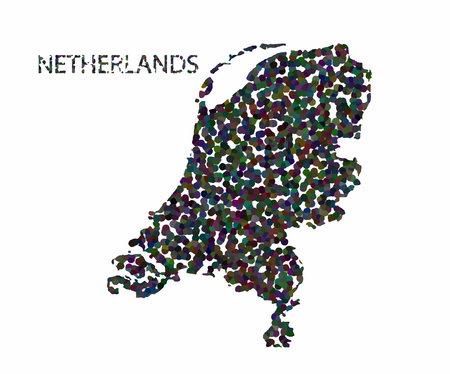 netherlandish: Concept map of Netherlands, vector design Illustration.