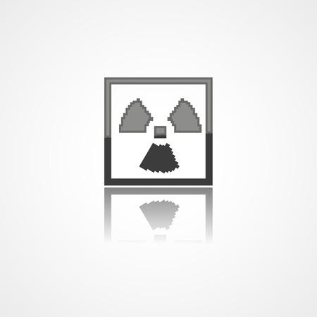 hazardous waste: Radiation warning web icon on white background