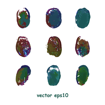 protected database: Set of fingerprints isolated on white background - vector illustration Vectores