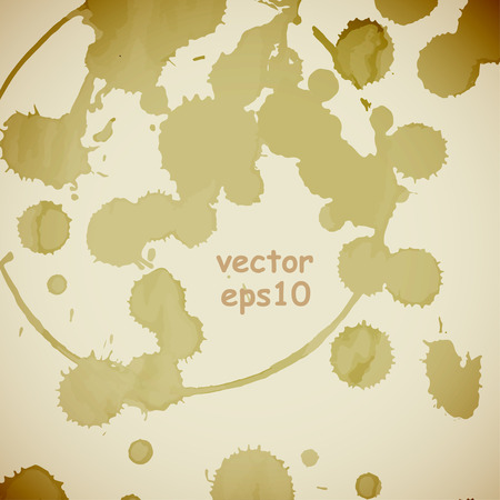 Coffee stains on the white background - Vector illustration. Illustration