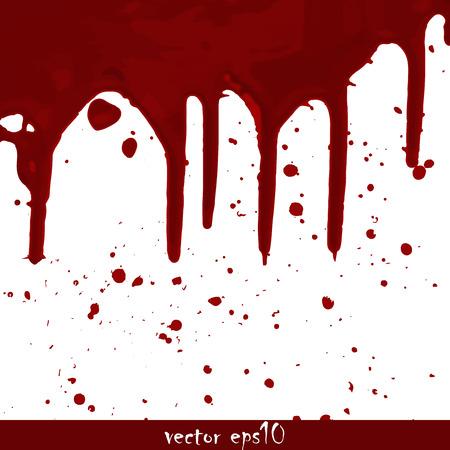 dripped: Splattered blood stains - Vector illustration. Illustration