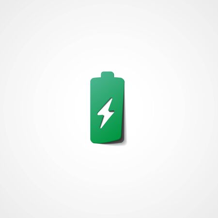watts: Battery web icon on white background
