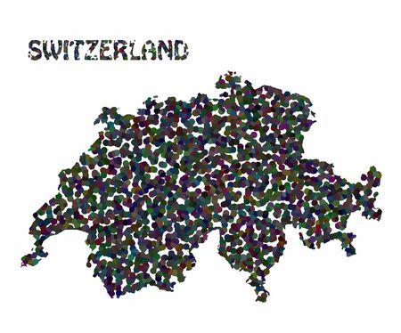 perimeter: Concept map of Switzerland, vector design Illustration. Illustration