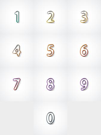 web 2 0: Numbers set, web icon on white background