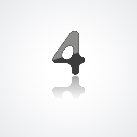 number icon: Web icon illustration, number collection - 4 Illustration