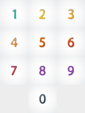 Numbers set, web icon on white background
