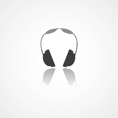 Headphones web icon on white background