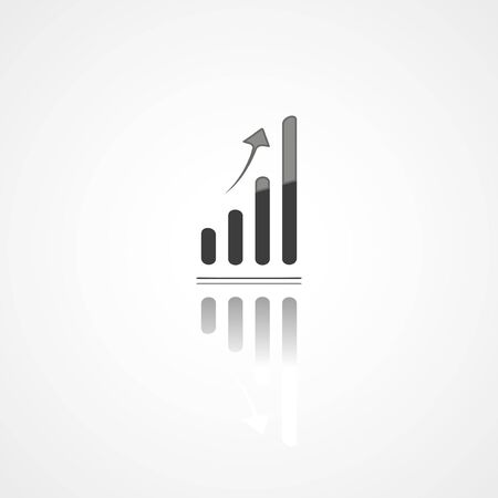 Business graph web icon on white background
