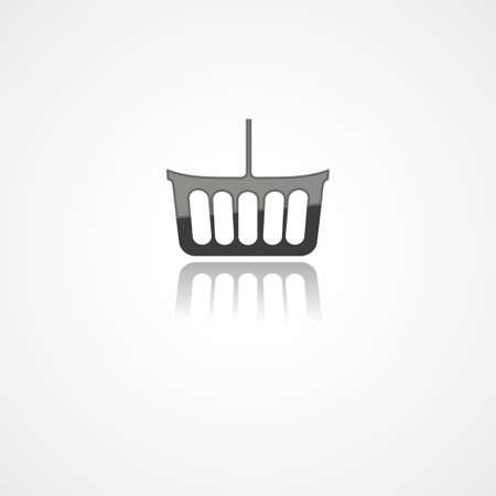 Shopping basket web icon on white background