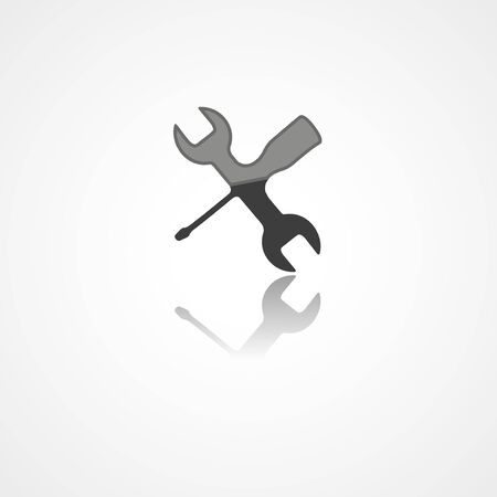 Wrench and screwdriver web icon on white background