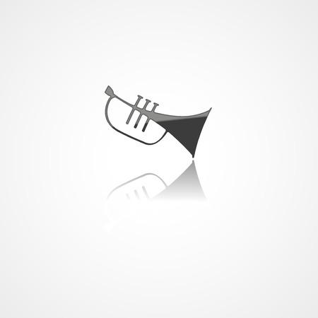 Trumpet web icon on white background Ilustrace