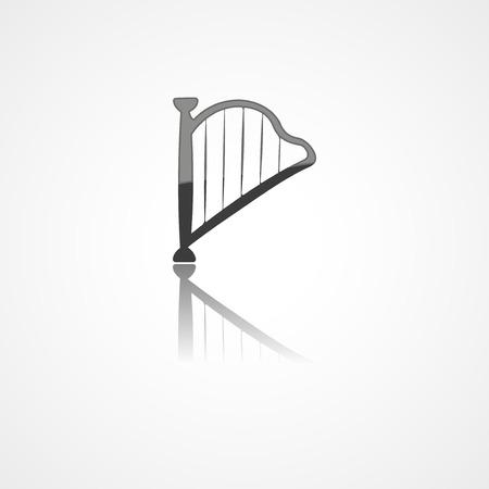 Harp web icon on white background