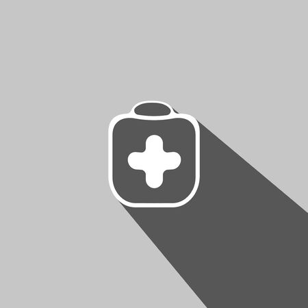 firstaid: Medicine chest web icon on gray  background