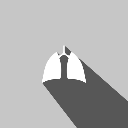 Human lung web icon on gray  background