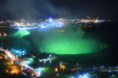 Niagara Falls Glows at Night.