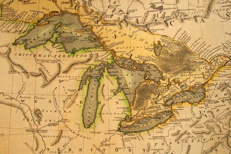 Vroege kaart van de Grote Meren. Gedrukt in Bordeaux, Frankrijk, 1795. Stockfoto