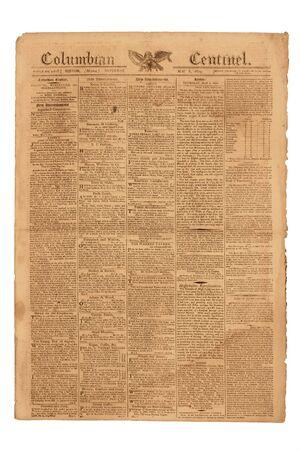 Antieke Krant, Columbiaanse Centinel van Boston, gepubliceerd 6 mei 1809. Stockfoto