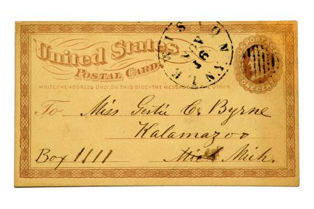 Very early US Post Card issued in 1879 with an imprinted one cent Liberty stamp. Banco de Imagens
