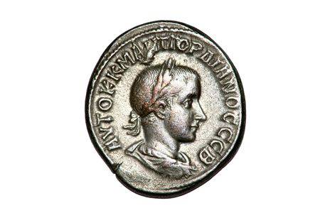 Roman silver Tetradrachm coin of Gordian III, dated 238-244AD.