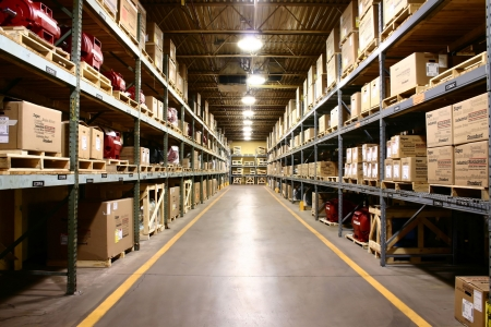 Parts warehouse aisle of of manufacturing company