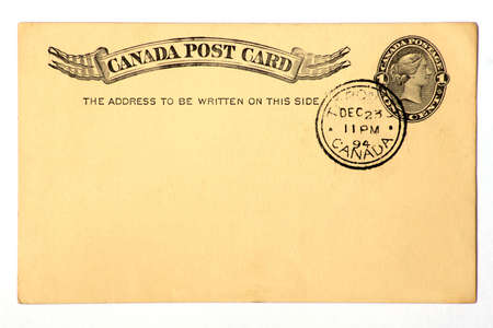 Blanked vintage Canadian postal card dated 1894. 스톡 콘텐츠