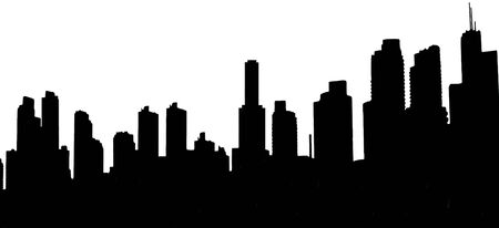 Black and white illustration of a modern urban skyline.