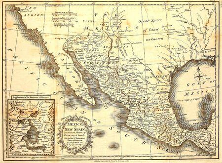 Antieke kaart van Mexico gedrukt in Londen 1821