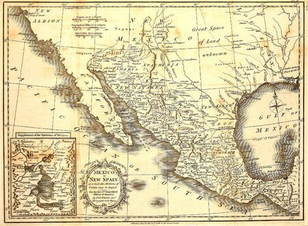 Antique map of Mexico printed in London 1821 Banco de Imagens
