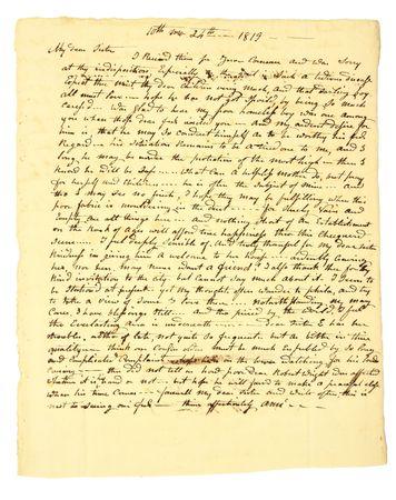1819 년 10 월 24 일자 개인의 오래된 자필 편지.
