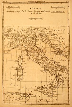 Original antique map of Italy printed in 1780.
