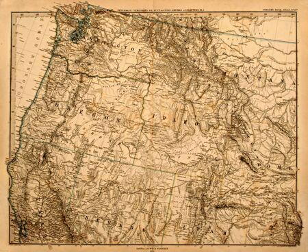 Antique map of America's Pacific Northwest printed in 1875. Foto de archivo