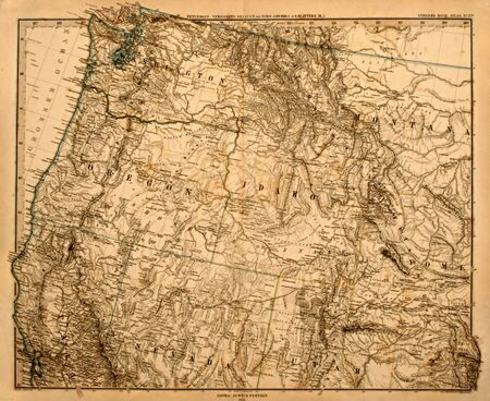 Antique map of America's Pacific Northwest printed in 1875. Banco de Imagens