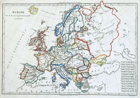 Original line colored map of Europe, printed in France in 1785.