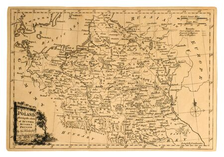 Vintage map of Poland, printed in 1773, shows the country's partitions.